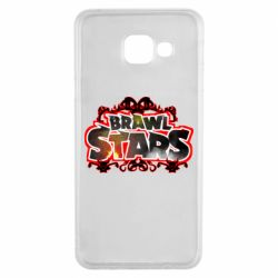 Чехол для Samsung A3 2016 Brawl stars logo red pattern