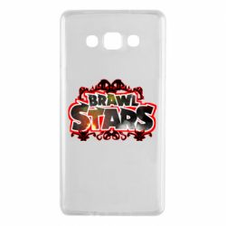 Чехол для Samsung A7 2015 Brawl stars logo red pattern