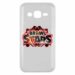Чехол для Samsung J2 2015 Brawl stars logo red pattern
