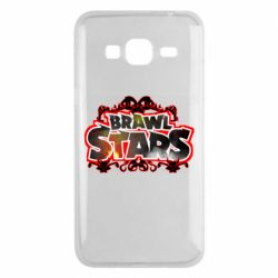 Чехол для Samsung J3 2016 Brawl stars logo red pattern