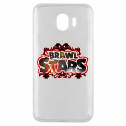 Чехол для Samsung J4 Brawl stars logo red pattern