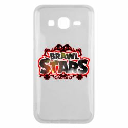 Чехол для Samsung J5 2015 Brawl stars logo red pattern