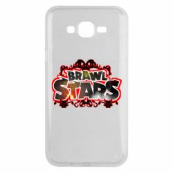 Чехол для Samsung J7 2015 Brawl stars logo red pattern