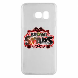 Чехол для Samsung S6 EDGE Brawl stars logo red pattern