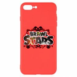 Чехол для iPhone 7 Plus Brawl stars logo red pattern