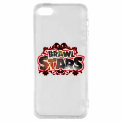 Чехол для iPhone5/5S/SE Brawl stars logo red pattern