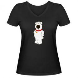 Женская футболка с V-образным вырезом Брайан Гриффин - FatLine