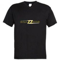 Мужская футболка  с V-образным вырезом Brazzers new