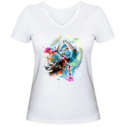 Женская футболка с V-образным вырезом Брэйк Арт