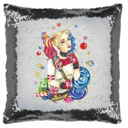 Подушка-хамелеон Bright Harley Quinn Vector