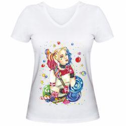 Женская футболка с V-образным вырезом Bright Harley Quinn Vector