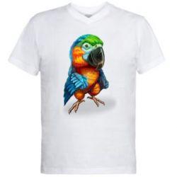 Чоловіча футболка з V-подібним вирізом Bright parrot art
