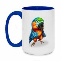Кружка двоколірна 420ml Bright parrot art