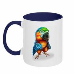 Кружка двоколірна 320ml Bright parrot art