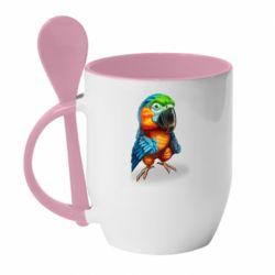 Кружка з керамічною ложкою Bright parrot art