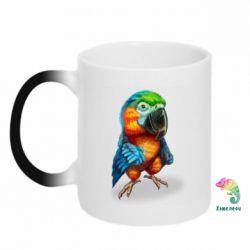Кружка-хамелеон Bright parrot art