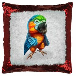Подушка-хамелеон Bright parrot art