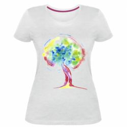 Жіноча стрейчева футболка Bright watercolor tree