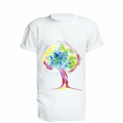 Подовжена футболка Bright watercolor tree