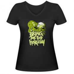 Женская футболка с V-образным вырезом Bring me the horizon - FatLine
