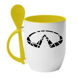 Кружка з керамічною ложкою Broken logo