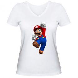 Женская футболка с V-образным вырезом Brother Mario