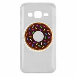 Чохол для Samsung J2 2015 Brown donut on a background of patterns