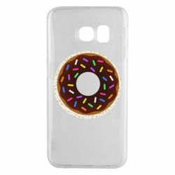 Чохол для Samsung S6 EDGE Brown donut on a background of patterns