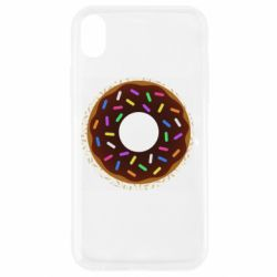 Чохол для iPhone XR Brown donut on a background of patterns