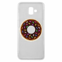 Чохол для Samsung J6 Plus 2018 Brown donut on a background of patterns