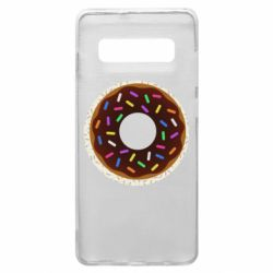 Чохол для Samsung S10+ Brown donut on a background of patterns