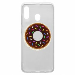 Чохол для Samsung A20 Brown donut on a background of patterns