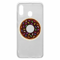 Чохол для Samsung A30 Brown donut on a background of patterns