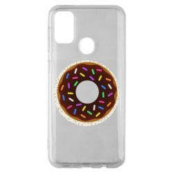 Чохол для Samsung M30s Brown donut on a background of patterns