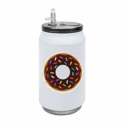 Термобанка 350ml Brown donut on a background of patterns