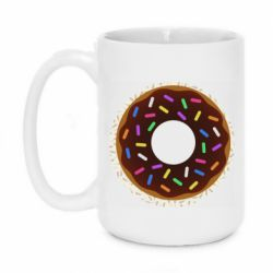 Кружка 420ml Brown donut on a background of patterns