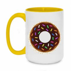 Кружка двоколірна 420ml Brown donut on a background of patterns