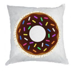 Подушка Brown donut on a background of patterns