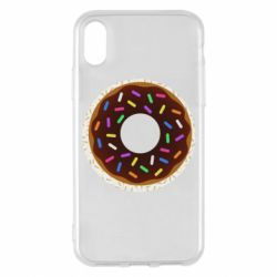 Чохол для iPhone X/Xs Brown donut on a background of patterns