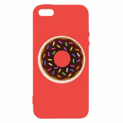 Чохол для iphone 5/5S/SE Brown donut on a background of patterns