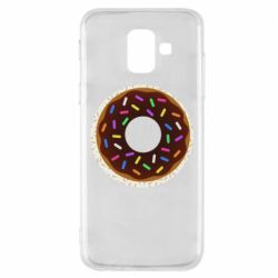 Чохол для Samsung A6 2018 Brown donut on a background of patterns