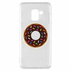 Чохол для Samsung A8 2018 Brown donut on a background of patterns