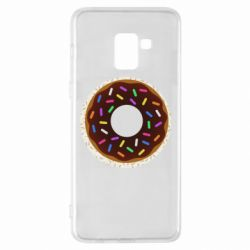 Чохол для Samsung A8+ 2018 Brown donut on a background of patterns