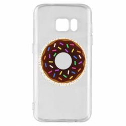 Чохол для Samsung S7 Brown donut on a background of patterns