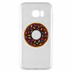 Чохол для Samsung S7 EDGE Brown donut on a background of patterns