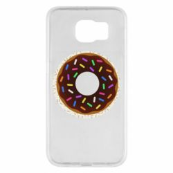 Чохол для Samsung S6 Brown donut on a background of patterns