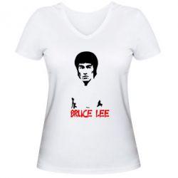Женская футболка с V-образным вырезом Bruce Lee - FatLine
