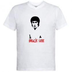 Мужская футболка  с V-образным вырезом Bruce Lee - FatLine