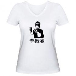 Женская футболка с V-образным вырезом Брюс ли - FatLine