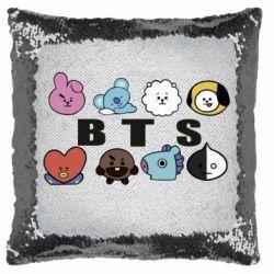 Подушка-хамелеон Bts emoji